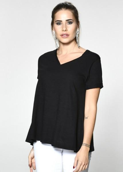 Leicht ausgestelltes T-Shirt in schwarz