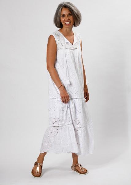 langes Kleid aus Lochspitze - weiß