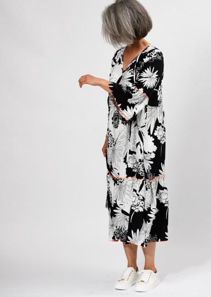 langes Kleid schwarz weiß