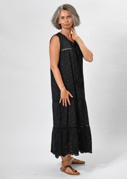 langes Kleid aus Lochspitze -black