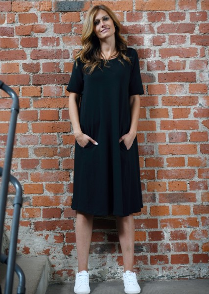 Sweat-Kleid 1/2 Arm in schwarz
