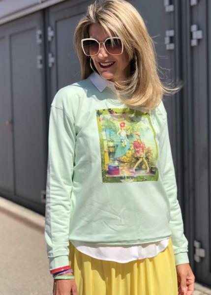 Sweatshirt mit Motiv in lime