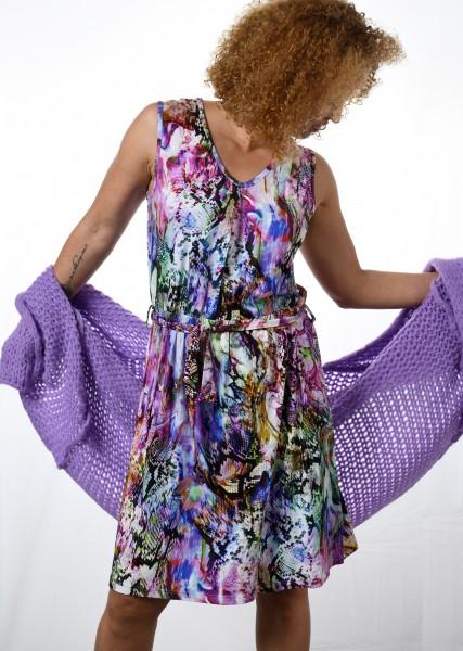 Luftiges Sommerkleid - ohne Arm - mit buntem Snakeprint