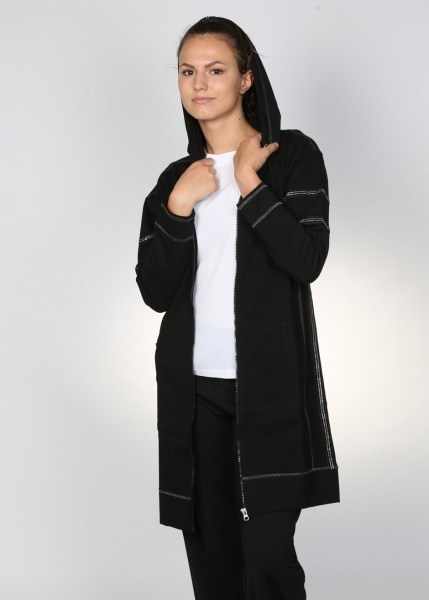 Sportiver Sweatmantel mit Kapuze in schwarz
