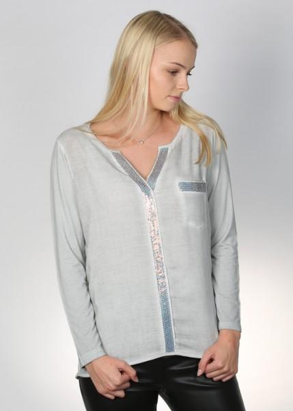 Blusenshirt in silber mit trendigen Paillettendetails