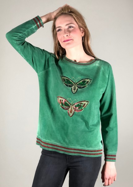 Sweatshirt mit Schmetterlings-Glamour