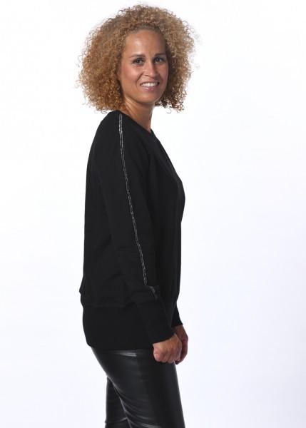 Lässiges Sweatshirt in schwarz mit Lurex-Kontraststreifen