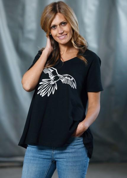 T-Shirt, schwarz in A-Linie mit Papageienmotiv
