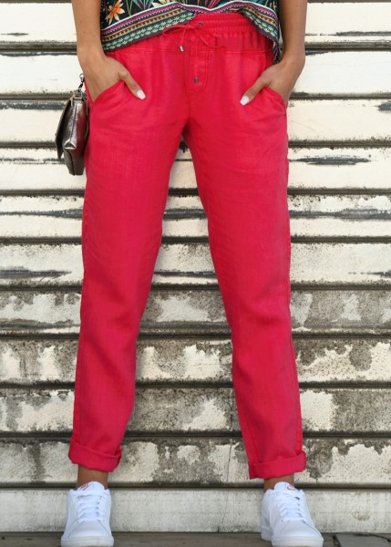 Leinenhose in ruby-red
