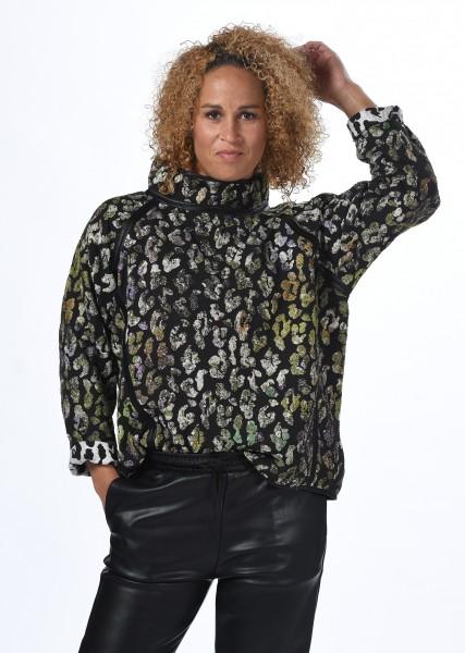 Sweatshirt in Leooptik mit Lurex