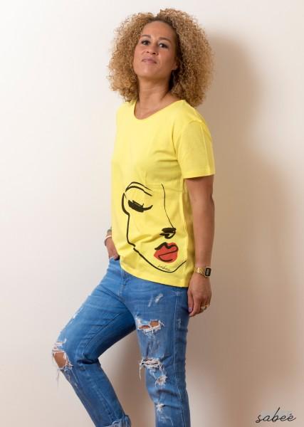 T Shirt mit Faceprint - gelb