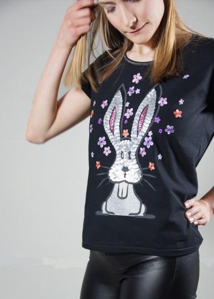 T-Shirt mit aufwendigem Hasenmotiv in schwarz
