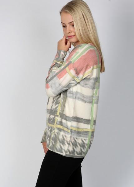 Strick-Pullover mit Karo-Ketten Print