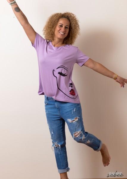 T Shirt mit Faceprint - fliederfarben