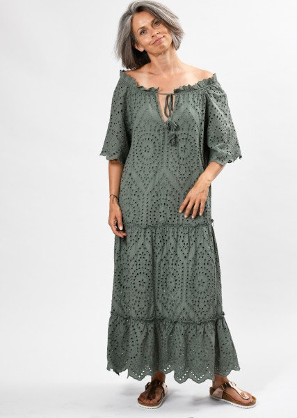 langes Kleid aus Lochspitze mit Carmenausschnitt - khaki
