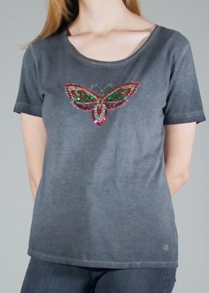 Glanzvolles T-Shirt mit Schmetterlingsapplikation