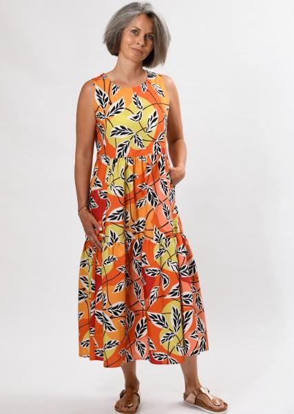 langes Kleid - mit Print in Orangetönen - ärmellos