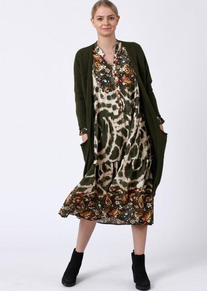 wadenlanges Kleid in Batikoptik mit Bordüre