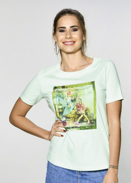T-Shirt in lime mit Statement Print