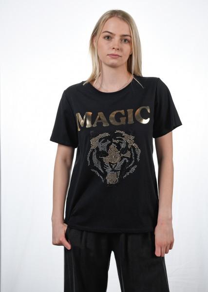 T-Shirt mit Strassmotiv - schwarz