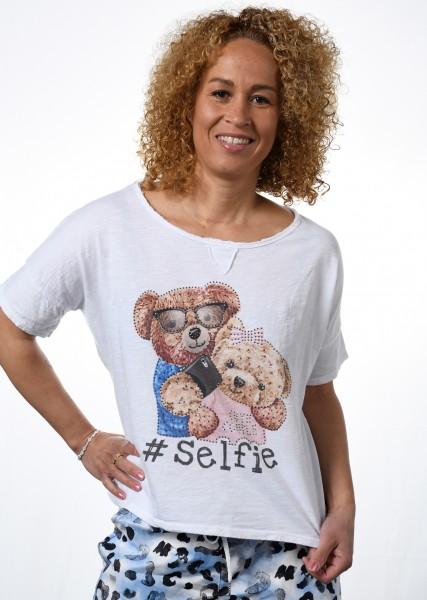 T-Shirt - leicht ausgestellt - mit Druckmotiv und Strasssteinen