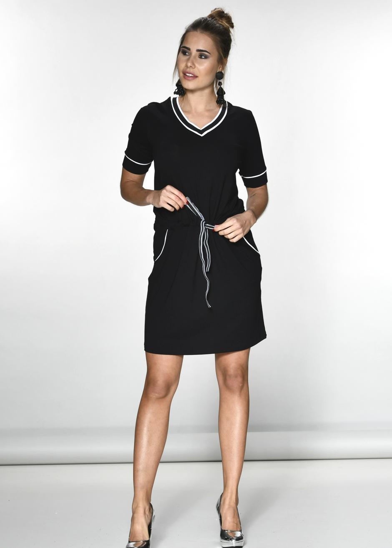 Sportives VAusschnitt Kleid in schwarz  Products  SalzkornFashion