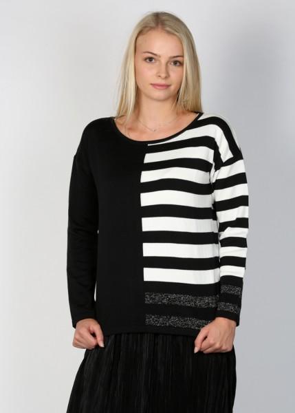 Strick-Pullover schwarz-weiß