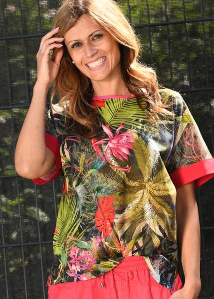 Shirtbluse mit exotischem Print - 1/2 Arm
