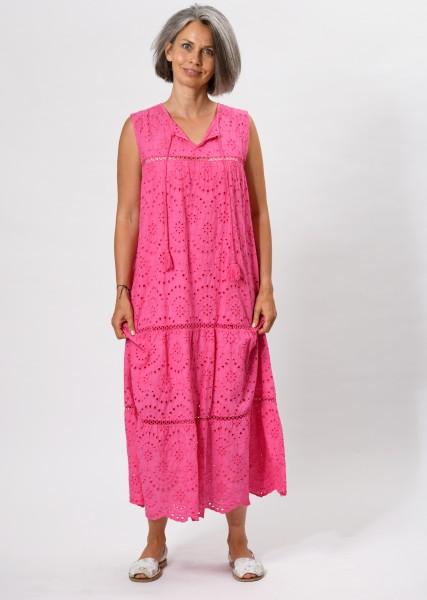 langes Kleid aus Lochspitze - pink